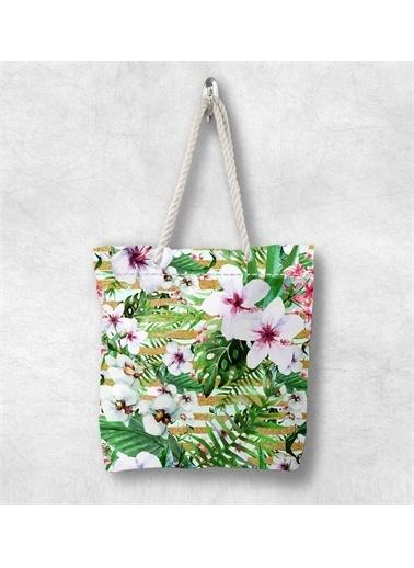 Else Halı Yeşil Beyaz Çiçekler 3D Desenli Fermuarlı Kumaş Omuz Çantası Renkli